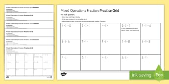 Fractions Practice Grids (All Four Operations) Differentiated Activity Sheets - Addition Add Subtraction Subtract Multiplication Multiply Division Divide Numerator Denominator Impr