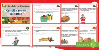 Calcoli a mente di Natale Attività - natale, natalizio, matematica, operazioni, materiale, scolastico, italiano, italian