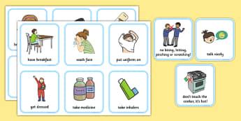 SEN Communication Cards Daily Routine  - communication cards, education, home school, child development