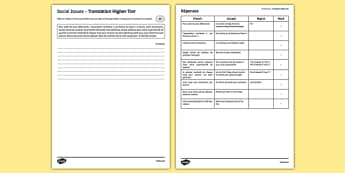 Social Issues Translation Higher Tier Activity Sheet - French, worksheet