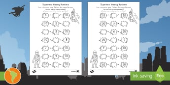 Superhero Missing Numbers Activity Sheet US English/Spanish (Latin) - Number bonds, pair, total, 10, 20, inverse, solve, reason, maths, numeracy, numbers, number pairs, m