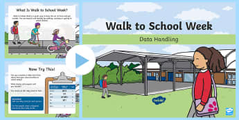 KS1 Walk to School Week Data Handling PowerPoint - maths, data, tally chart, tally, pictogram, problem solving, bar chart, travel, activity, Interpret