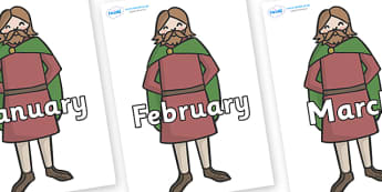 Months of the Year on Britons - Months of the Year, Months poster, Months display, display, poster, frieze, Months, month, January, February, March, April, May, June, July, August, September