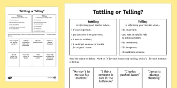 Tattling or Telling Activity Sheet - Social Skills, tattle, tell, activity, important, help, worksheet