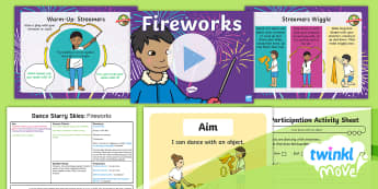 Twinkl Move - Year 1 Dance: Starry Skies Lesson 1 - Fireworks - Dance Starry Skies, PE, Dance, Key Stage 1, KS1, Fireworks, Streamers, Movement, Year 1, Y1, Exercis