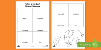 Who's at the Zoo? Picture Dictionary Activity Sheets - Exploring my world, Aistear, Play, Zoo, Animals, picture, dictionary, writing, spelling,Irish