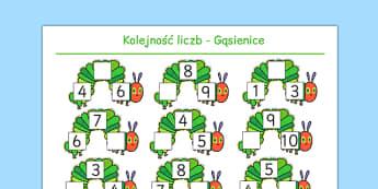 Karta Porządkowanie liczb Uzupełnienie lektury Bardzo głodna gąsienica - gąsienica, owoce, jedzenie, pożywienie, głodna, bajka, zjadać, zjeść, matematyka, liczenie, lektura, liczyć, kolejność, po kolei