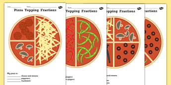 Pizza Fractions Activity Sheets Halves Quarters and Thirds - fractions