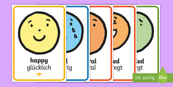 Emotion Face Display Poster English/German - Gefühle, Mimik, Poster, emotions, EAL, display, cards