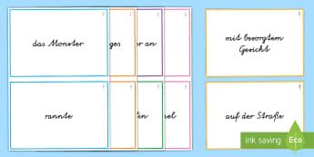 Satzglieder ordnen und Sätze bilden Aktivität - Satzbau, Syntax, Subjekt, Verb, Objekt, Prädikat, Druckschrift, Schreibschrift, ,German
