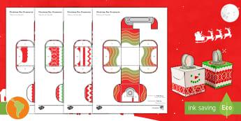 Simple 3D Block Ornaments Christmas Decoration Activity Paper Craft US English/Spanish (Latin) - ornaments, christmas, decorations, christmas tree, paper craft, nets, spanish, español, eal, esl