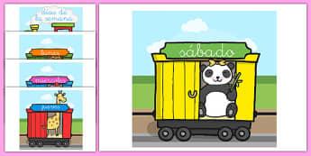 Tren de los días de la semana en DIN A4 - calendario, decorción, transporte