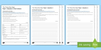 AQA Eng Lang P1 Q4 'The Thirty Nine Steps' Mini Exam Pack - AQA GCSE Specific Question Resources, structure, language, evaluation, Question 4, revision, The Thi