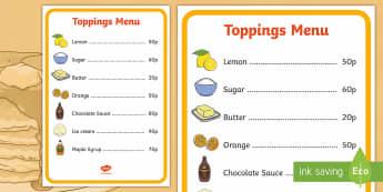 Pancake Cafe Toppings Role Play Menu - Pancake Day UK Feb 28th, shrove Tuesday, pancakes, lent, pancake day, role play