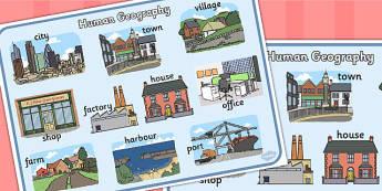 Human Geography Word Mat - human geography, human, word mat, mat
