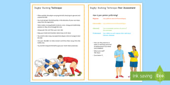 Rugby: Rucking Techniques Card - Rugby, KS3, rucking, technique, peer and self assessment, team