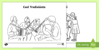 Cultúr na hÉireann Colouring Pages Gaeilge - ROI - Irish Language Week Gaeilge Resources - 1st-17th March, Seachtain na Gaeilge, Culture, Irish C