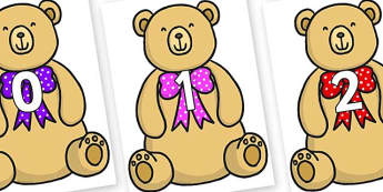 Numbers 0-100 on Bow Tie Teddy - 0-100, foundation stage numeracy, Number recognition, Number flashcards, counting, number frieze, Display numbers, number posters