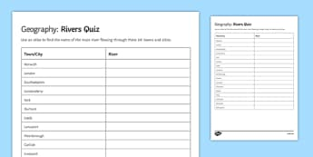 Rivers Quiz Activity Sheet, worksheet