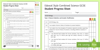Edexcel Style Natural Selection and Genetic Modification Student Progress Sheet - natural selection, genes, gene, genetics, evolution, selective breeding, darwin, charles darwin, res