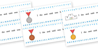 The Olympics Alphabet Strips - Olympics, Olympic Games, sports, Olympic, London, 2012, Alphabet, Learning letters, Writing aid, Writing Area, activity, Olympic torch, flag, countries, medal, Olympic Rings, mascots, flame, compete, events, tennis, ath
