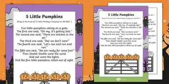 EYFS 5 Little Pumpkins Poem - eyfs, 5 little pumpkins, poem, halloween