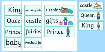 Sleeping Beauty Word Cards - sleeping beauty, word cards, topic cards, sleeping beauty words, sleeping beauty cards, story cards, themed word cards