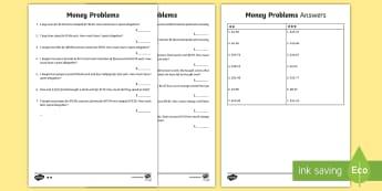 Money Word Problems Activity Sheet - maths, word problems, australia, maths word problems, ACMNA059, ACMNA080, ,Australia