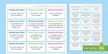 NI Thinking Skills and Personal Capabilities Working With Others Success Criteria Stickers - comments, targets, curriculum, marking, statements, Northern Ireland