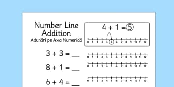 Addition to 10 Number Line Worksheets Romanian Translation - romanian, addition, 10, number line, numberline, maths