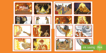 Māui and the Magic of Fire Story Sequencing Cards - Maui Myths Maori legends