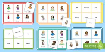 Bingo Członkowie rodziny - rodzina, mama, tata, bingo, gra, zabawa, ojciec, matka, języki, język, obce, polski, babcia, dziad