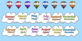 Editable Hot Air Balloon Birthday Display Spanish Translation - spanish, birthday, birthday display, editable birthday display, classroom display, classroom management, hot air balloon