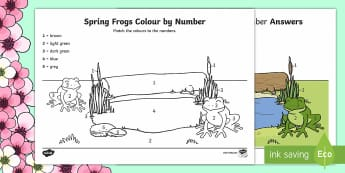 Spring Frogs Colour by Number - Spring UK, numeracy, number, colour, frogs, worksheet, maths,