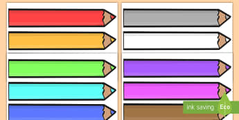 Editable Colored Pencil Display Cut-Outs - pencil, label, display, colored pencil, posters