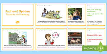 Guided Reading Skills Task Cards Fact and Opinion Cards - English/German  - reading, fact vs opinion, books, EAL, German, English-German,,German-translation