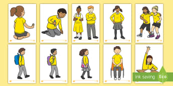 Children in Yellow Uniform Display Cut-Outs - Children in Yellow Uniform Display Cut-Outs  - children, yellow uniform, ylleow, uniform, display, c