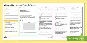 Year 6 Algebra Differentiated Maths Mats - expression, formula, variables, sequences, assessment
