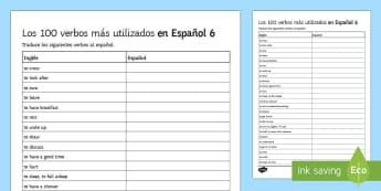 100 High Frequency Verbs 6 Activity Sheet Spanish