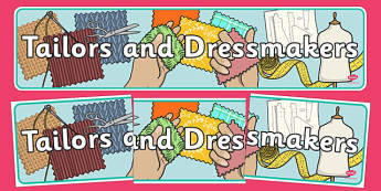Tailors and Dressmakers Shop Display Banner - tailors, dressmakers, role play, display banner, display, banner