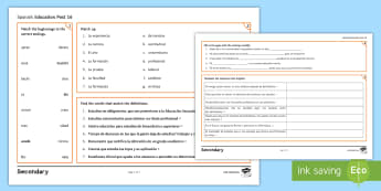 Education Post-16 Activity Mat Spanish - KS4, GCSE, Spanish, activity, mats, exercises, education, post, 16, school, college, university, stu