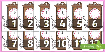 Numbers 0-31 on Clocks - 0-31, foundation stage numeracy, Number recognition, Number flashcards, counting, number frieze, Display numbers, number posters