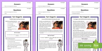 KS1 Yuri Gagarin Differentiated Reading Comprehension Activity  - Space Week, World, Information, Non-fiction, Astronaut, Space