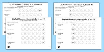Lily Pad Counting in 2s, 5s and 10s Activity Sheets Arabic Translation - arabic, lily pad, counting, 2, 5, 10, activity, worksheet