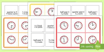 Mixed Time Bingo English/Spanish - Mixed Time Bingo - Mixed time bingo, time game, Time resource, Time vocaulary, clock face, Oclock, h
