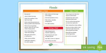 Flood A4 Display Poster - Australia Curriculum HASS The impact of bushfires or floods on environments and communities, ACHASSK