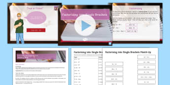 Factorising into Single Brackets Lesson Pack - expand, factor, linear, bracket, GCSE, KS4, algebraic manipulation,