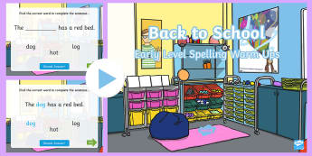 Back To School Complete The Sentence PowerPoint - comprehension, reading, spelling, sounding out, Jolly phonics, Read Write Inc, ,Scottish