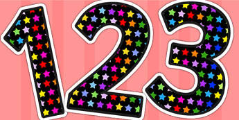 Multicoloured Star Themed Display Numbers - star, number, display