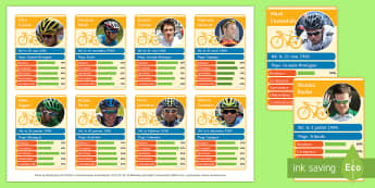 Tour de France Riders Top Card Game French - cyclisme, French, Tour de france, riders, game, speaking, reading,French